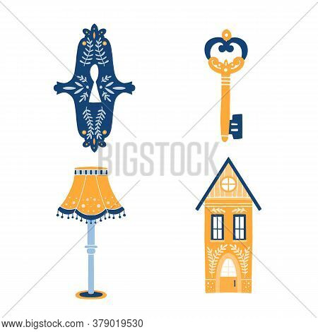 Set Of Folk Art Cliparts In Scandinavian And Nordic Style
