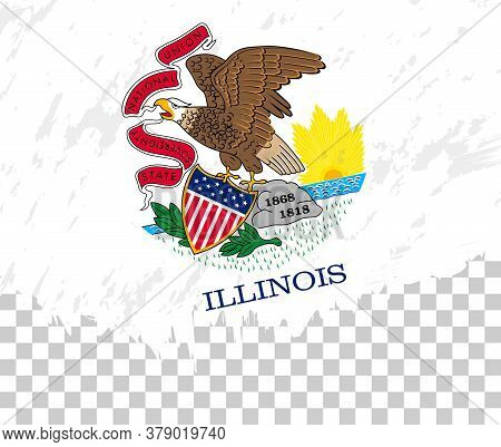 Grunge-style Flag Of Illinois On A Transparent Background. Vector Textured Flag Of Illinois For Vert