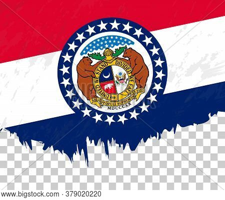 Grunge-style Flag Of Missouri On A Transparent Background. Vector Textured Flag Of Missouri For Vert