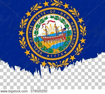Grunge-style Flag Of New Hampshire On A Transparent Background. Vector Textured Flag Of New Hampshir