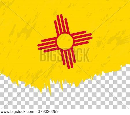 Grunge-style Flag Of New Mexico On A Transparent Background. Vector Textured Flag Of New Mexico For