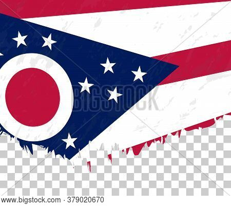 Grunge-style Flag Of Ohio On A Transparent Background. Vector Textured Flag Of Ohio For Vertical Des