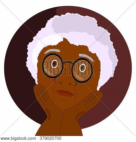 Flat Round Icon . Grandmother A Black Woman With Glasses . Emotions Of An Old Woman. Dark Circle. Ve