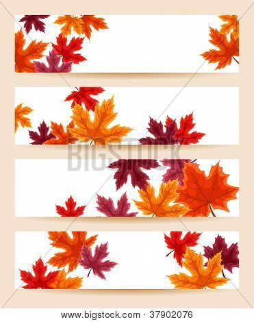 Set of four vector banners (468x120px) with autumn maple leaves.