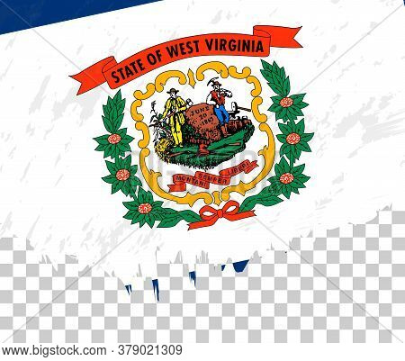 Grunge-style Flag Of West Virginia On A Transparent Background. Vector Textured Flag Of West Virgini