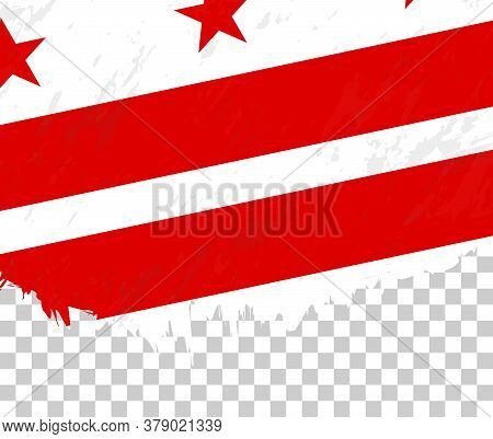 Grunge-style Flag Of District Of Columbia On A Transparent Background. Vector Textured Flag Of Distr