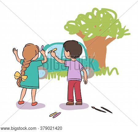 Cute Little Boy And Girl Painting Wall With Chalk. Kids Drawing Grass, Tree And Car. Playground, Kin