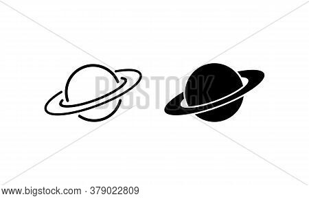 Planets Icon Set. Saturn Rings. Solar System Concept. Vector On Isolated White Background. Eps 10