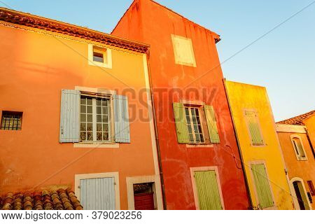Famous Ochre Colored Roussillion Village In Provence Countryside, France