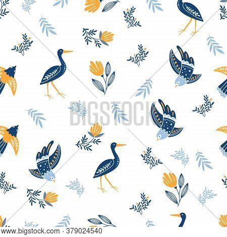 Seamless Pattern With Flowers, Birds, Heron On White Background