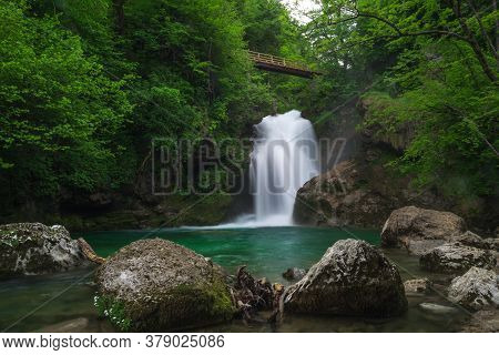 Waterfall Sum At Bled Vintgar Gorge, Slovenia