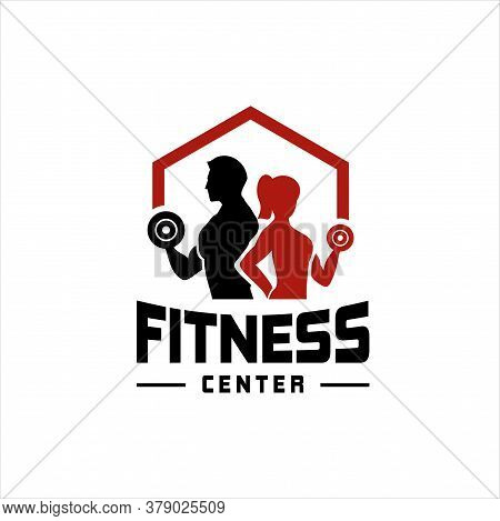 Fitness Club Logo Or Emblem With Woman And Man Silhouettes. Woman And Man Holds Dumbbells. Isolated