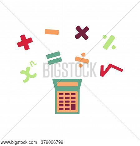Calculator Vector Illustration With Mathematical Signs Isolated. Plus, Minus, Division, Multiplicati