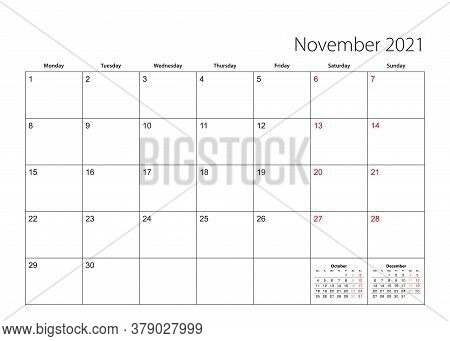 November 2021 Simple Calendar Planner, Week Starts From Monday. Vector Calendar Planner.