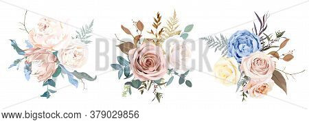 Desert Dusty Brown And Yellow Rose, Beige Peony, Pastel Pink Protea, Blue Ranunculus, Fern, Dry Plan