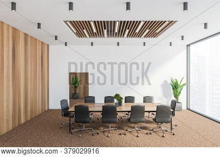 Interior Of Modern Conference Room With White And Wooden Walls, Carpeted Floor, Long Meeting Table W