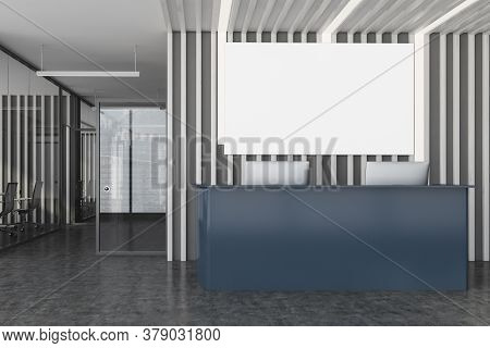 Interior Of Stylish Office Waiting Room With Dark Wooden Walls, Concrete Floor And Gray Reception De
