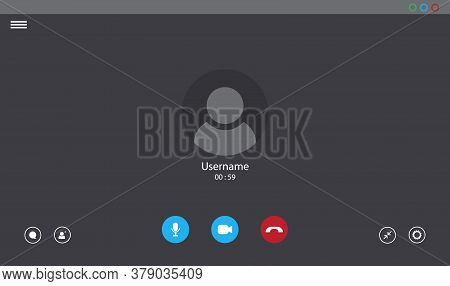 Online Video Call Interface Template With User Icon. Vector Ui Screen. Online Business Webinar Chat.