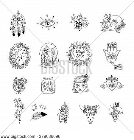 Patch Set Of Magic And Witchcraft. Wild Magic Style