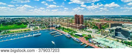 Inner Harbor In Baltimore, Maryland On A Clear Day