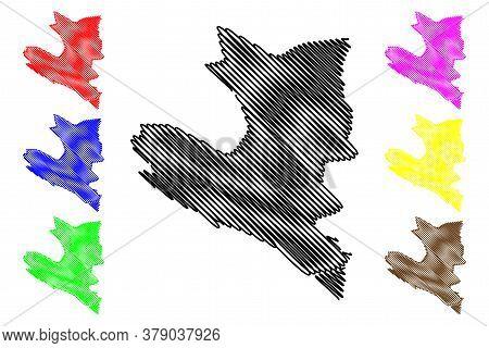 Ulcinj Municipality (montenegro, Municipalities Of Montenegro) Map Vector Illustration, Scribble Ske