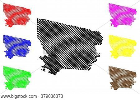Coronie District (surinam, Republic Of Suriname) Map Vector Illustration, Scribble Sketch Coronie Ma