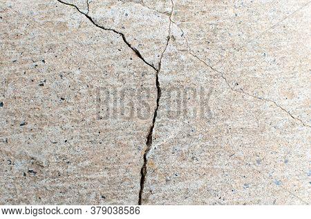 Fractured Concrete Surface Closeup Background Or Texture. Natural Destruction.