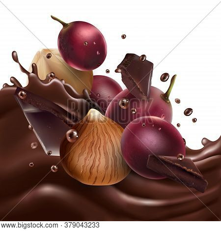 Red Grapes And Hazelnuts With Chocolate Pieces On A Chocolate Wave.