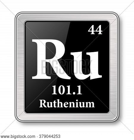 Ruthenium Symbol.chemical Element Of The Periodic Table On A Glossy Black Background In A Silver Fra