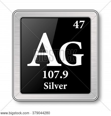 Silver Symbol.chemical Element Of The Periodic Table On A Glossy Black Background In A Silver Frame.