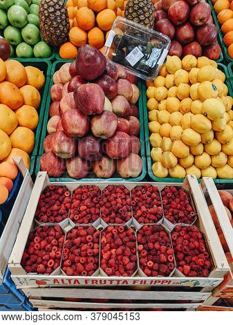 Budva, Montenegro - 01 August 2020: Fruits And Berries On Display In The Store.