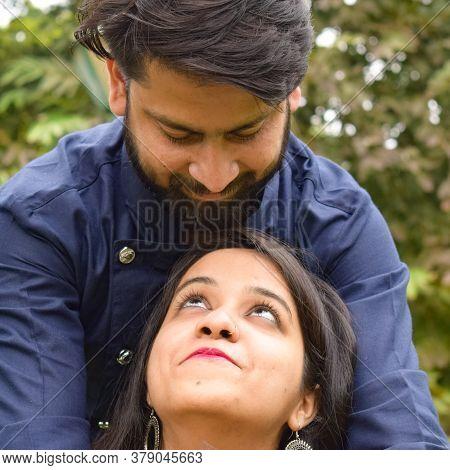 New Delhi India – November 25 2020 : A Couple Pose For Pre Wedding Shoot Inside Lodhi Garden Delhi,