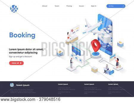 Booking Isometric Landing Page. Travel Application For Ticket Orders, Hotel Search, Review And Reser