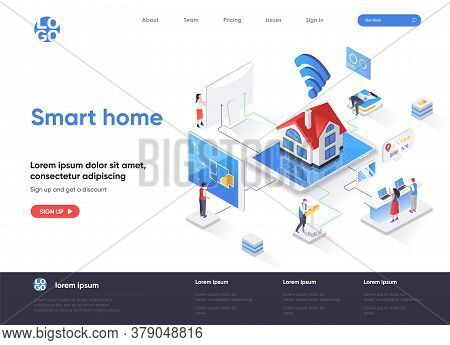 Smart Home Isometric Landing Page. Online Home Control, Monitoring And Management, House System Auto
