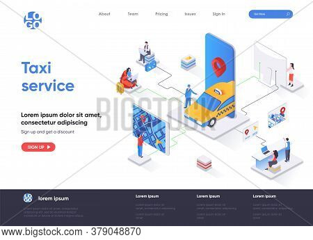 Taxi Service Isometric Landing Page. Web Application For Online Taxi Order, Booking Service, Passeng