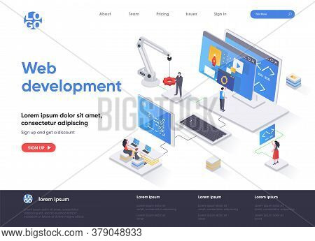 Web Development Isometric Landing Page. Full Stack Development, Software Engineering, Design And Pro