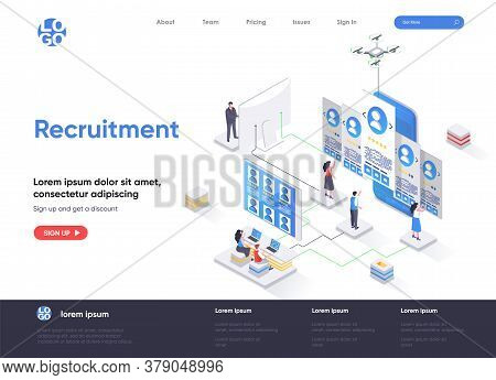 Recruitment Isometric Landing Page. Human Resource Management And Staff Headhunting Isometry Web Pag
