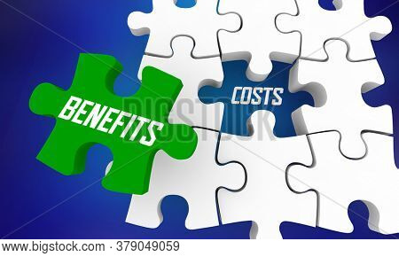 Benefits Vs Costs Puzzle Pieces CBA Cost Benefit Analysis 3d Illustration
