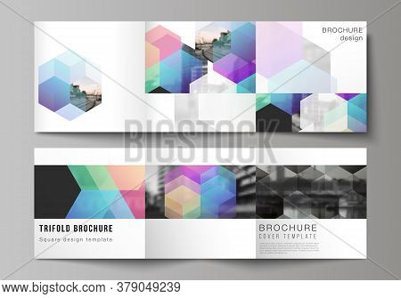 Vector Layout Of Square Format Covers Design Templates With Colorful Hexagons, Geometric Shapes, Tec