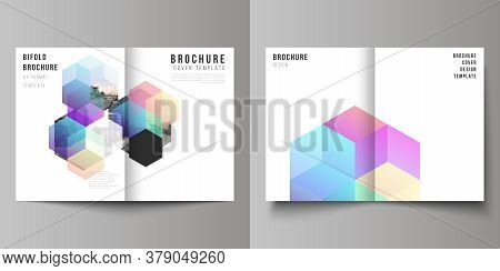 Vector Layout Of Two A4 Format Cover Mockups Design Templates With Abstract Shapes And Colors For Bi