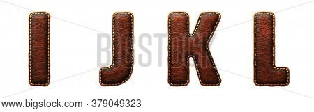 Set of leather letters I, J, K, L uppercase. 3D render font with skin texture isolated on white background. 3d rendering