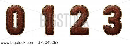 Set of numbers 0, 1, 2, 3 made of leather. 3D render font with skin texture isolated on white background. 3d rendering