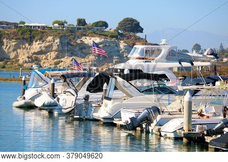 July 31, 2020 In Newport Beach, Ca:  Yachts And Boats Docked At The Newport Harbor Where People Can
