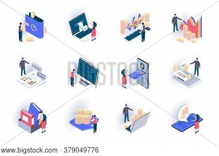 Business Accounting Isometric Icons Set. Financial Management, Consulting And Audit Service Flat Vec