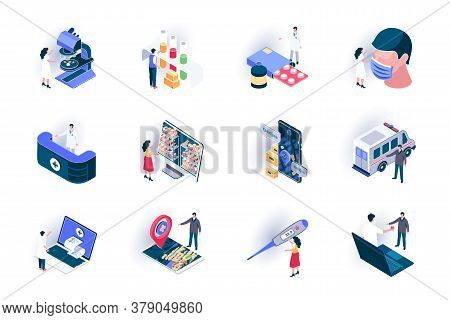 Medical Service Isometric Icons Set. Diagnosis And Treatment In Clinic Flat Vector Illustration. Onl