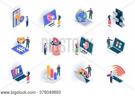 Social Media Isometric Icons Set. Smm Technology, Trend Watching, Analysis And Targeting Flat Vector