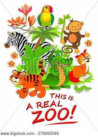 This Is A Real Zoo. Illustration Of Cute Animals. Fantasy Background For Zoological Garden Visitors.