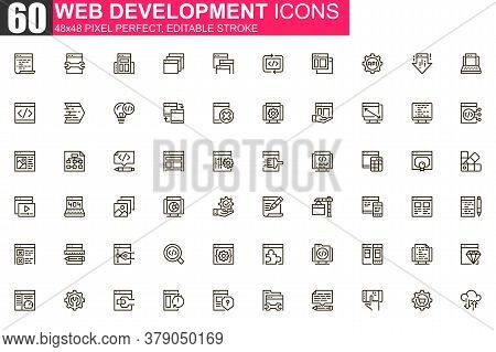 Web Development Thin Line Icon Set. Application Programming Outline Pictograms For Web And Mobile Ap