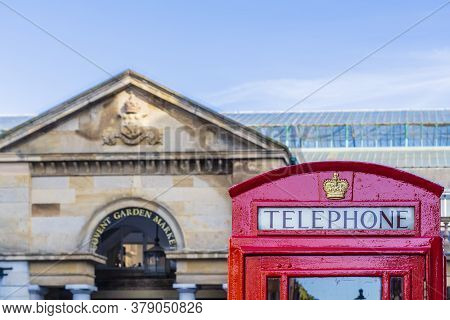 June 2020. London. Red Telephone Boxes In Covent Garden , London, Uk Europe