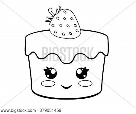 Cupcake With Cute Face And Strawberries - Vector Linear Illustration For Coloring. Kawaii Strawberry
